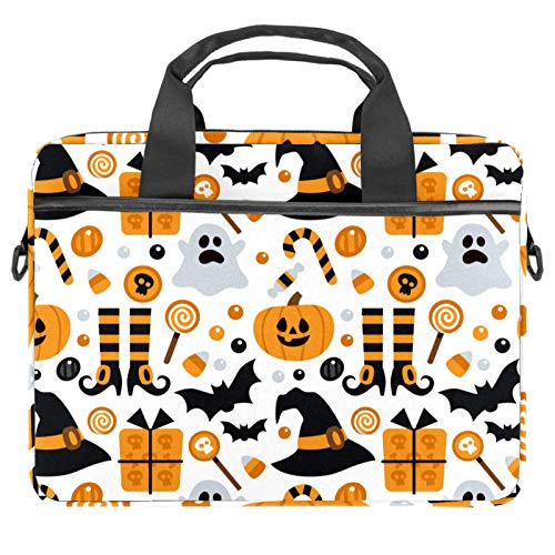 Laptop Bag Halloween Witch Hats Ghosts Spider Pumpkin Notebook Sleeve with Handle 13.4-14.5 inches Carrying Shoulder Bag Briefcase