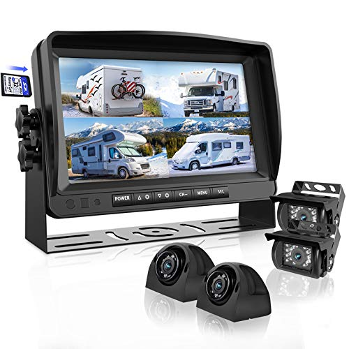 Backup Camera System with 9'' Large Monitor and DVR for RV semi Box Truck Trailer Rear and Side...
