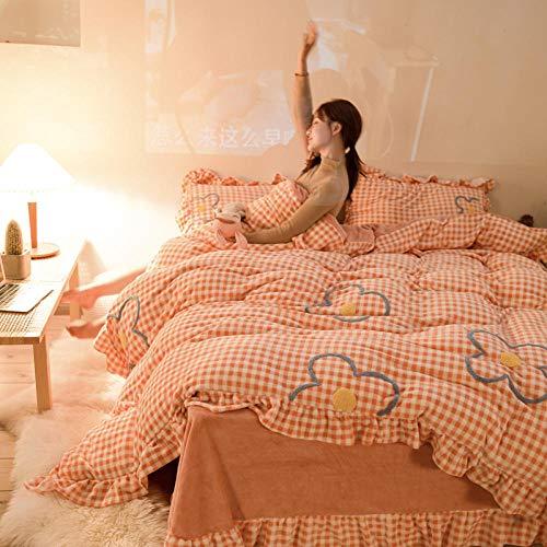 geek cook Bed Sheet Set,Winter fresh princess style coral velvet flannel warm four-piece double-sided fleece ruffle bedding-Pink orange_1.8m (6 feet) bed