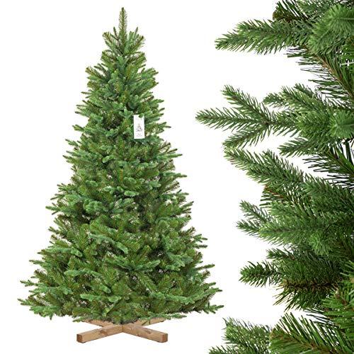 FairyTrees künstlicher Weihnachtsbaum NORDMANNTANNE Edel, Spritzguss & PVC, Ständer aus Holz, 180cm