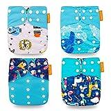 Wenosda 4PCS Pañales de tela para bebés Pañales de bolsillo Pañales reutilizables lavables Inserte el pañal de bolsillo todo en uno para la mayoría niños(Azul Oscuro + Tortuga + Ciervo)