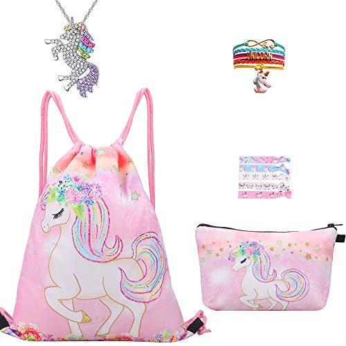 RHCPFOVR Einhorn Geschenke für Mädchen 5 Pack - Einhorn Kordelzug Rucksack/Make-up Tasche/Einhorn-Halskette/Einhorn-Armband/Haargummis