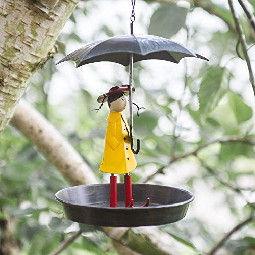 garden mile® Novelty Metal Hanging Chain Girl and Umbrella Bird Feeder for Wild Birds | Antique Style Metal Bird Bath Table with Hanging Hook | Hanging Garden Decorations (Metal Umbrella Feeder)
