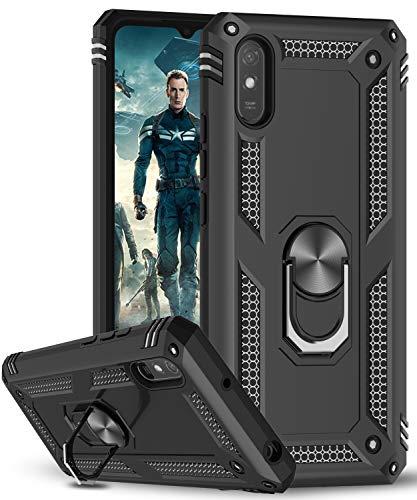 LeYi für Xiaomi Redmi 9A Hülle,360 Grad Ring Halter Handy Hüllen Cover Magnetische Bumper Schutzhülle für Hülle Xiaomi Redmi 9A Handyhülle Schwarz