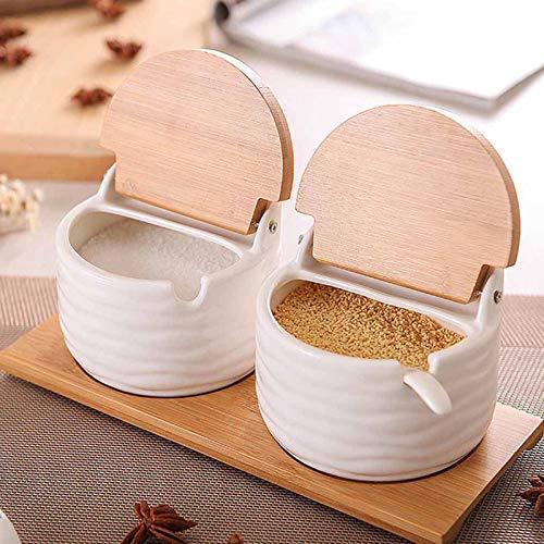 Azucarero de 2 Piezas con Tapa y Cuchara, azucarero de cerámica para el hogar y la Cocina, dispensador de azúcar Blanco para azúcar, Sal, Especias y más