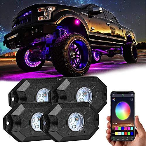 Boomersun RGB LED Rock Lights Kit, LED Unterbodenbeleuchtung Auto mit LED-Licht Bluetooth-Controller Timing Blinken Musik-Modus Wasserdichte RGB-LED-Lichter für J-eep KFZ-Boot Marine-SUV (4PC)