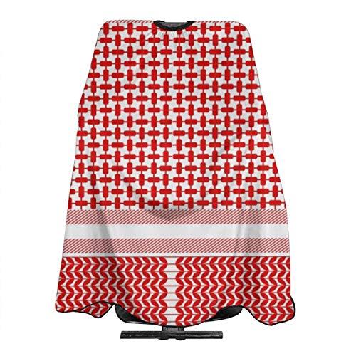 Cape de coiffure professionnelle en nylon imperméable avec fermeture à pression Motif floral géométrique Rouge et blanc 139,7 x 167,6 cm