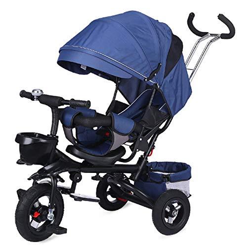 QINJIE Triciclo de niños Plegable Bicicleta Bicicleta Bicicleta,Azul