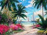 Lovmo Paisaje de Playa DIY 5D Diamante Pintura, Punto de Cruz Completo Diamante, Adecuado para decoración del hogar Pintura Hecha a Mano para niños y Adultos (Cuadrado 30 * 40(Cuadrado 30 * 40 cm)