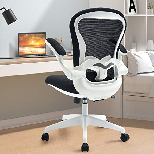 ComHoma Office Chair Ergonomic Desk Chair Mesh Computer Chair with Flip-up Arms Lumbar Support Rolling Swivel Adjustable Home Office Task Chair, White