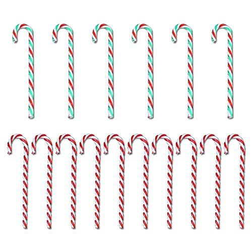 MingZhuInC Adornos para árbol de Navidad, bastón de caramelo, 18 piezas de acrílico para colgar ventanas de bastón de caramelo, colgantes de Navidad (rojo, blanco y verde)