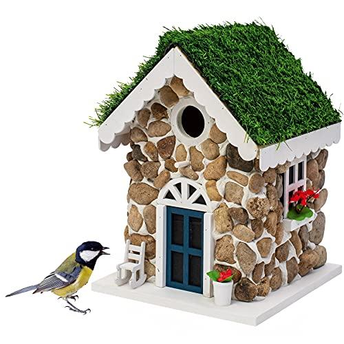Gardigo Nistkasten Steinhaus | Dekoratives Vogelhaus zum aufhängen | Vogelhäuschen für Garten, Balkon, Terrasse