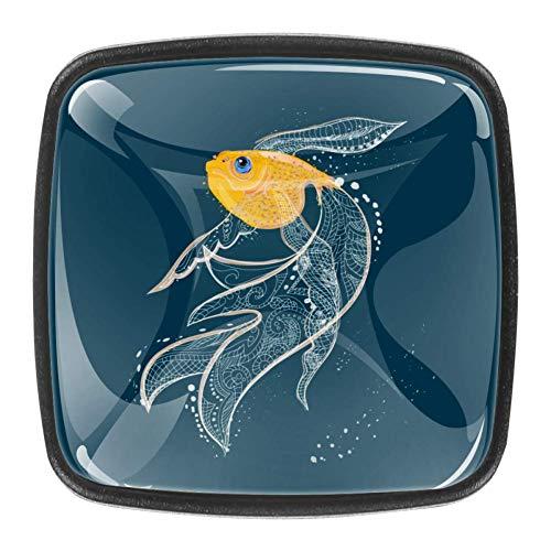 Bücherregal Knöpfe Cartoon Goldfisch Schrankknöpfe Halter Glas Kinder Knöpfe für Jungen Set von 4 3 x 2 x 2 cm
