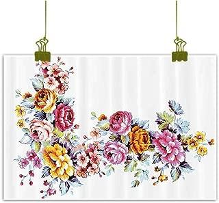 Sumilace Art Prints Framed Poster Painting, Illustration of Vintage Flowers Bouquet Flourishing Vibrant Watercolors Romantic Art Quality Canvas - 31