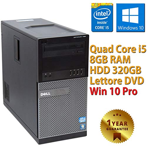 PC COMPUTER DESKTOP FISSO TOWER CON WINDOWS 10 PRO INSTALLATO DELL OPTIPLEX 790 INTEL QUAD CORE i5-2400 | RAM 8GB | HDD 320GB | LETTORE DVD | VGA - DISPLAY PORT (Ricondizionato)