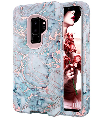BAISRKE Shiny Rose Gold Marble Case for Galaxy S9+ Plus,Heavy Duty Hybrid 3-Layer Full-Body Protect Case Soft TPU & Hard Plastic Back Cover for Samsung Galaxy S9 Plus [Green]