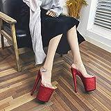 Nuevas Sandalias De Tacón Alto De Moda 20CM Zapatos Transparentes De Tacones Altos,Sandalias De Plataforma Con Tacones De Mujer,Zapatos De Baile En Barra Privados Personalizados,Talla Grande,Red-40
