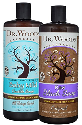 Dr. Woods Black Soap and Baby Mild Castile Soap, Body Wash with Organic Shea Butter Variety 2 Pack