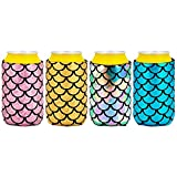 CHEETAH Flash Mermaid Beer Can Cooler Can Coozies,Insulated Neoprene Drink Coke Cover Sleeve,Reusable (4pcs)