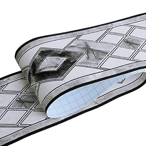 HyFanStr Tapetenbordüre selbstklebend Wandtattoo Bordüre Schwarz, 3D PVC Klebe Bad Bordüre Entfernbare Bordüre für Schaufenster Anzeigen Bad Spiegel Küche 500x10cm