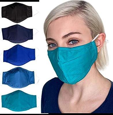Cloth face Mask,cotton mask for Women,Men,Nose Wire,Filter Pocket Adult,5-Pack