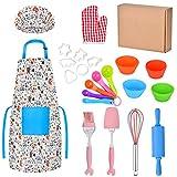 Queta 30 piezas, incluye delantal, manopla de horno, gorro de chef, herramienta de horneado para niños como regalo de cocina infantil (reutilizable)