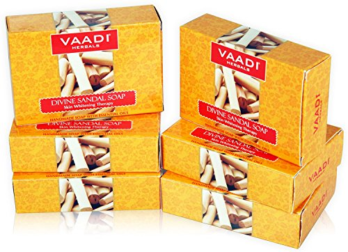 Vaadi Herbals Divine Sandal Soap with Saffron and Turmeric, 75gms x 6