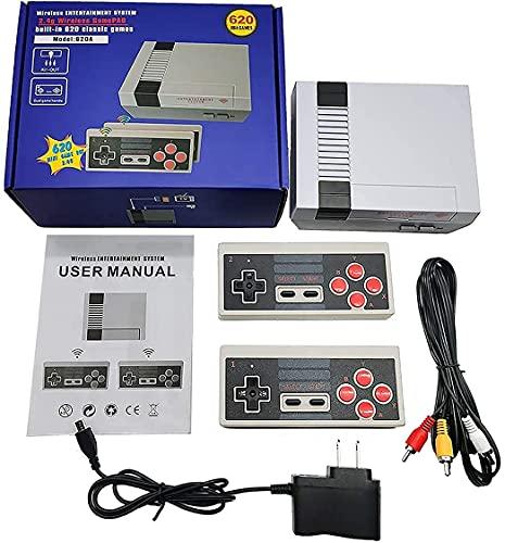 Mini consola retro clásica,Controladores Inalámbricos Duales de 2.4G,Incorporada en 620 Videojuegos Retro (Salida AV)