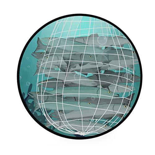 MALPLENA - Tappeto rotondo antiscivolo con pesce intrappolato in rete, per soggiorno, camera da letto
