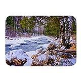 PatrickOgden Alfombrillas para baño, Árbol Invierno Bosque Río Rocas Viaje Cubierto Nieve Parques Naturales Cascada al Aire Libre,con Respaldo Antideslizante,29.5'X17.5'