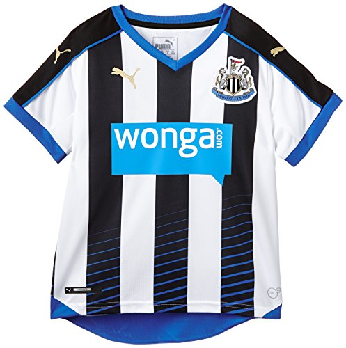 PUMA Herren Trikot Newcastle Home Replica Shirt with Sponsor, Black, White, Royal, 164