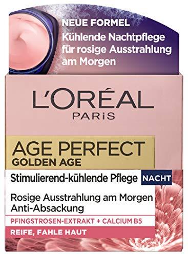 L\'Oréal Paris Age Perfect Golden Age kühlende Nachtcreme mit Neo-Calcium & Pfingstrosen-Extrakt, für rosig-frischen Teint, Anti-Age Gesichtspflege für reife Haut, 50ml