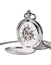 WOAIXI Orologio da Tasca Retro,Regalo di Natale Smooth Mechanical Pocket Watch Movimento Uomini Donne Elegante retrò Classico Mano Vento Tascabile Orologio con Catena