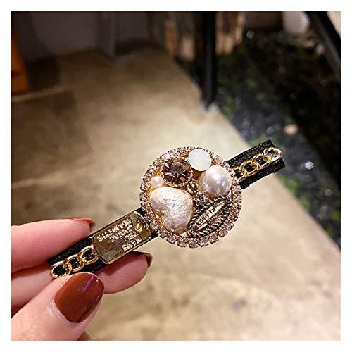スープ鍋 新しいファッションスタイルの黒い髪のクリップの女性レトロなバロックホワイトパールラインストーンサイドピンバングクリップヘアアクセサリー 調理器具 (Metal color : Heart shaped pearl)