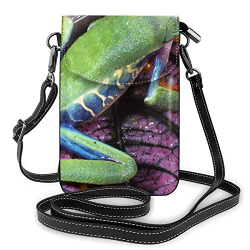 Crossbody - Bolso de hombro para teléfono celular, diseño de rana verde, hojas moradas