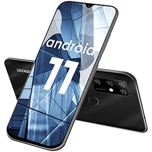 Smartphone Libre, DOOGEE X96 Pro Android 11 Teléfono Móvil, Pantalla HD+ 6.52' DotDisplay, 5400 mAh, 4GB + 64GB (SD 256GB), Cámara Cuádruple de 13 MP, Dual SIM Moviles Libres Baratos, GPS, OTG (Negro)