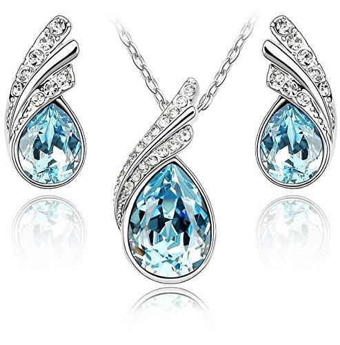 Lágrimas Crystals from Swarovski Azul Aguamarina simulada Juego de joyas Collar con colgante 45 cm Pendientes 18k Chapado en oro blanco