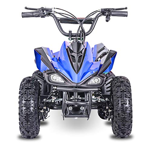 Fit Right 2020 Mars Kids 24V Mini Quad ATV, Dirt Motor Electric Four Wheeler Parental Speed Control, with 350W Motor Power Reserve, Large Tires & Wide Suspension (Blue)