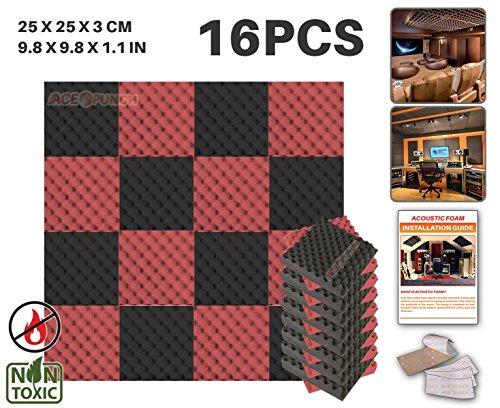 ACE Punch Lot de 16 panneaux acoustiques en mousse, structure alvéolée, 2 couleurs, à monter soi-même, pour isolation phonique de studio, dispositif de fixation gratuit, 25 x 25 x 3 cm AP1052, noir/rouge, 25 x 25 x 3 cm