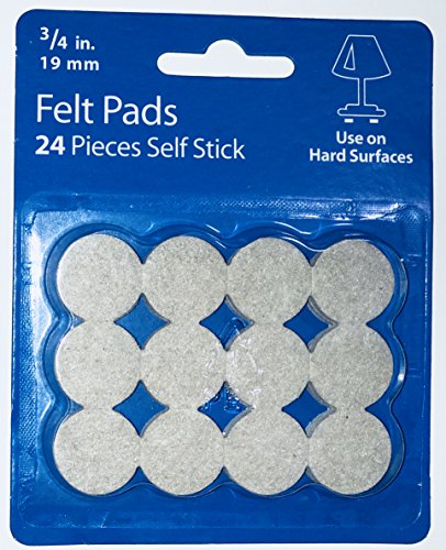 "Waxman 3/4"" inch Beige Self Stick Felt Furniture Pads, 24 Pieces"