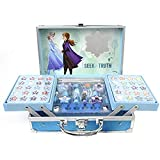 Frozen II Makeup Train Case - Maletín de Maquillaje de 2 Pisos - Set de Maquillaje para Niñas - Maquillaje Frozen - Neceser Maquillaje y Accesorios en un Maletín Reutilizable con Espejo