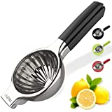 Large Lemon Squeezer 304 Stainless Steel with Silicone Handles Manual Juicer,Heavy Duty Metal Orange Lemon Juicer, Large Manual Citrus Press Juicer and Lime Squeezer