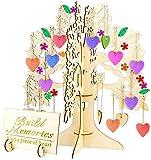Árbol de deseos de madera 3D con 100 piezas de adornos colgantes de corazón, manualidades de madera de bricolaje para decoraciones de bodas de fiesta en el hogar libro de visitas de boda