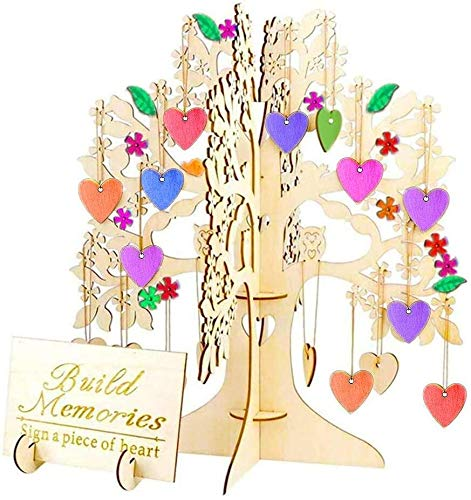 SEEHAN Wooden Ornaments Wooden Wish Tree as Wedding Guest Book, 3D Wood Wishing Tree with 100 PCS Heart Hanging Ornaments, DIY Wooden Crafts for Home Office Party Wedding Decorations Signature Card