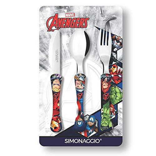 Jogo de Talheres Infantil Marvel Kids Avengers, Simonaggio, Multicor, Pacote de 3