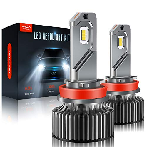 H11/H9/H8 LED Headlight, LAWTOOLIGHT 2-Pack LED Headlight Bulb, 12000 Lumens Super Bright High Low Beam Fog Light, 80W 300% Brighter LED Headlight Conversion Kit, 6500K Cool White, Halogen Replacement