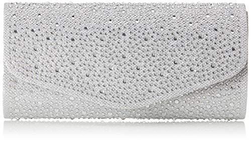 VINCENT PEREZ, Clutch, Abendtaschen, Umhängetaschen, Unterarmtaschen, Strassstein-Dekoration, 23x12x6 cm (B x H x T), Farbe:Silber
