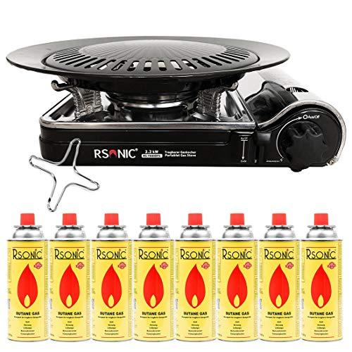 Mianova Gaskocher Campingkocher RS-7000DFS im Koffer Shisha Kohle Anzünder Gaskartuschen Gaskreuz Kohleanzünder Grillanzünder mit 8 Gasflaschen Grillplatte