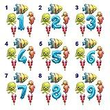 Ysjspd Globo Grande Océano Hoja hincha bebé Shark Boy Fiesta de cumpleaños de los niños Embroma suministra Número Globo de la decoración (Color : Set 8, Shape : Number 3)