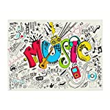 Music Art Doodle Rock Sound Manta suave para sofá cama ligera para todas las estaciones de 156 x 202 cm